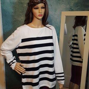 Nautica blue and white striped sweater size XL